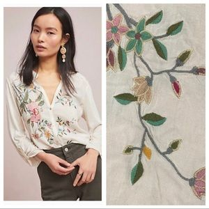 Anthropologie Tiny Eden Floral Embroidery blouse S